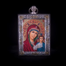 002/0042 Silver icon of Virgin Mary of Kazan
