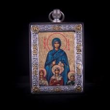 002/004 Silver icon of saint Sofia (vera , nadajda , lobov )