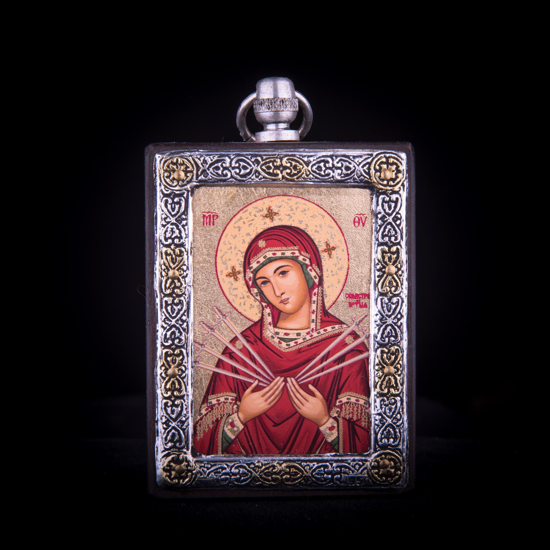 002/0024 a  silver icon virgin Mary of seven sorrows (semistrelnaya )