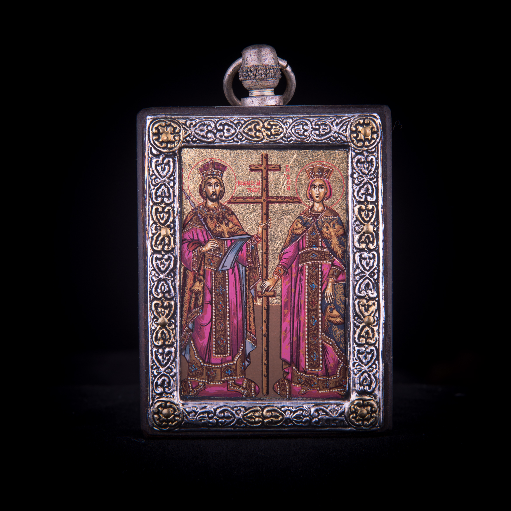 002/0032 silver icon of Saint Costantine and Helena
