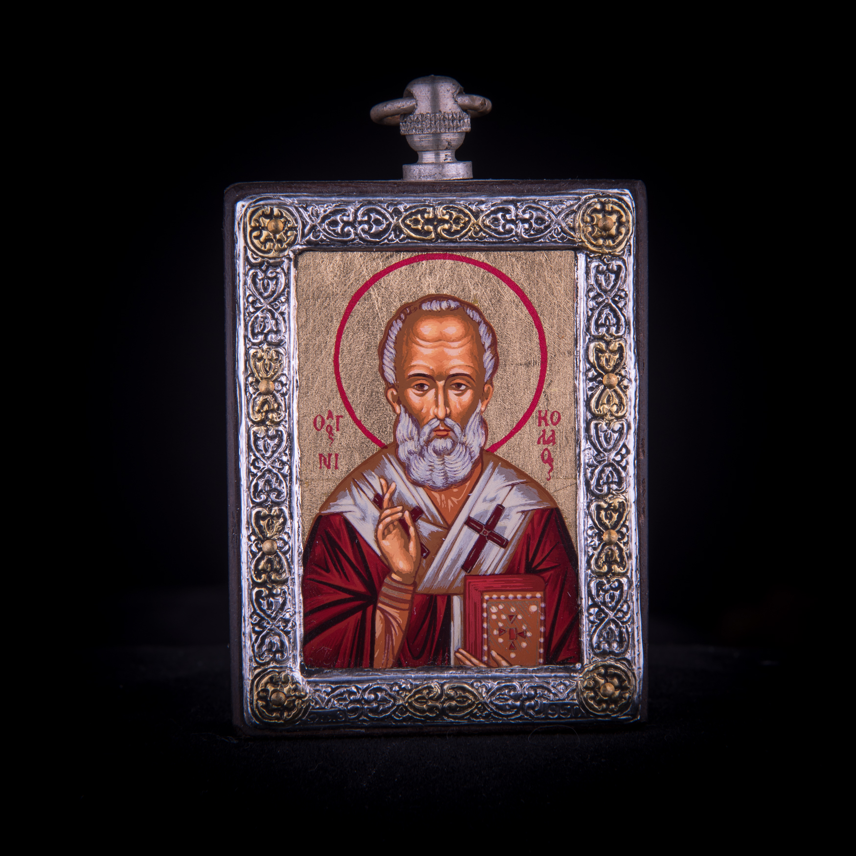 002/0049 Silver icon of Saint Nicolas