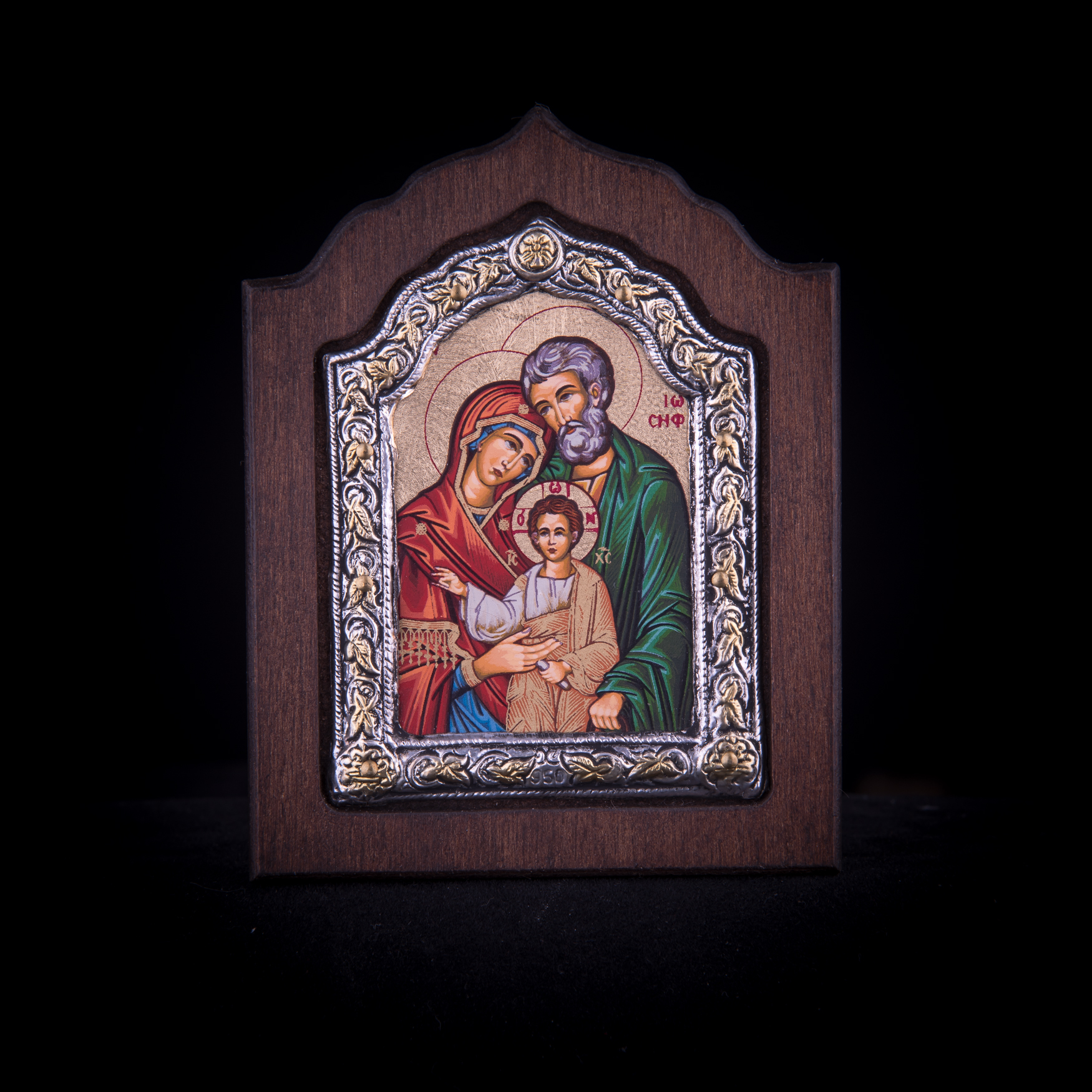 002/0053 silver icon of the Holy Family