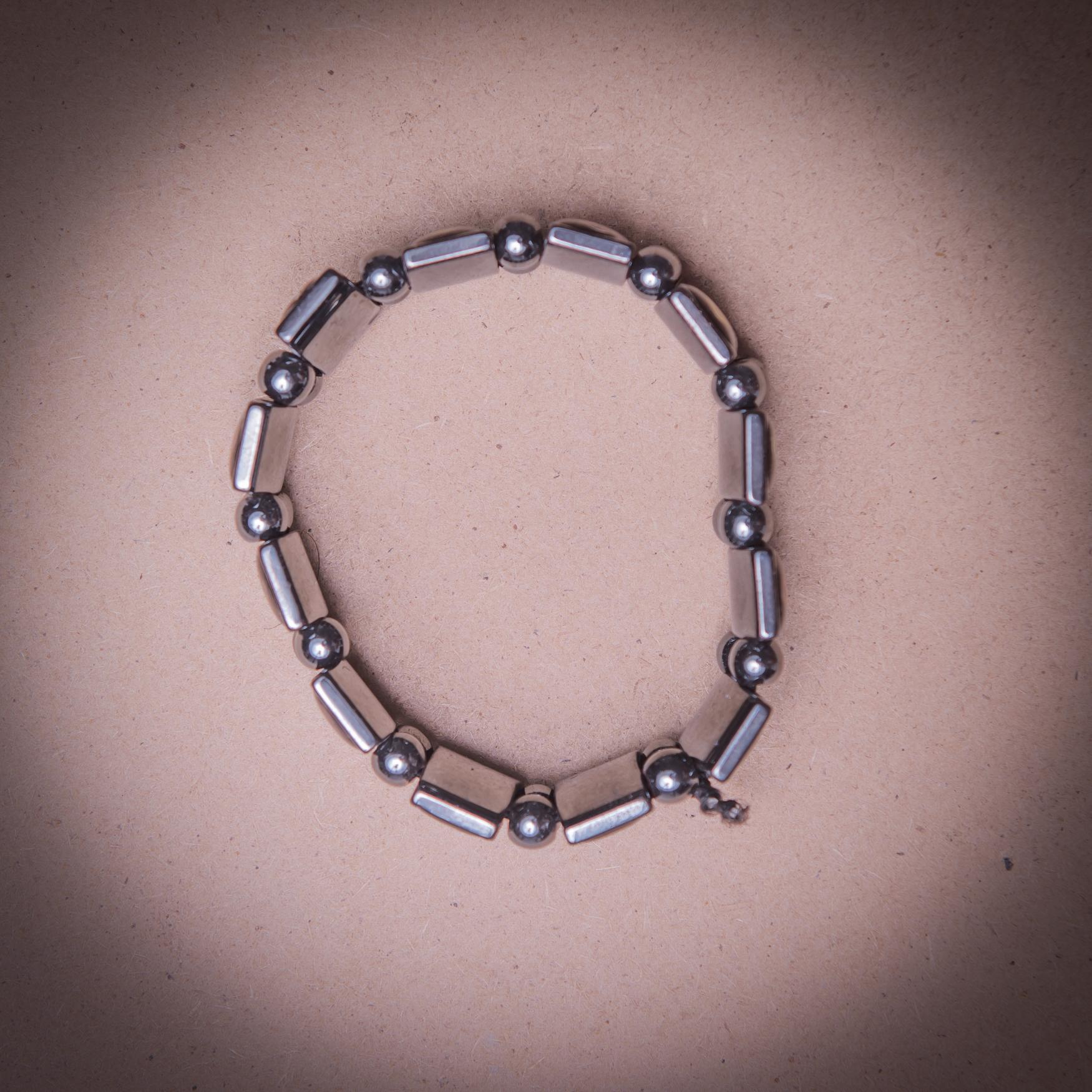 005/0017 Hematite  bracelet with icons